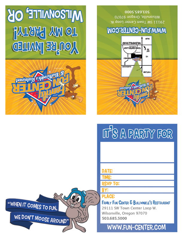 Print Invitations For Your Bullwinkle S Family Fun Center Party